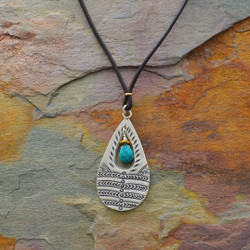 Stamped Teardrop Turquoise Necklace