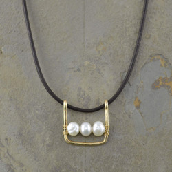 Framed Pearl Leather Necklace