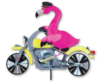 Biker Lawn Spinner - Biker Flamingo