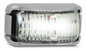 42CWM - Front End Outline Marker Light Multi-volt Chrome Bracket Clear Lens Single Pack. AL. Ultimate LED