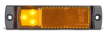 129AMB - Side Marker Light with Reflector Low Profile Multi-volt Single Pack. AL. Ultimate LED.