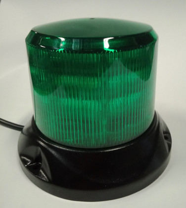 Mini Profile, Green Safety Rotation and Strobe Beacon. Magnet Mount.  Mini Revolver, 15 watts RB132MG.