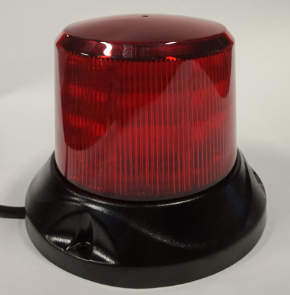 Red Safety Rotation and Strobe LED Beacon. Fixed Mount.  Maxi Revolver, 15 watts RB167R.