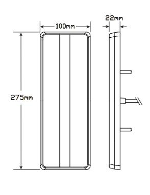 275 Series Line Drawing - 275ARWM - Stop Tail Indicator Reverse. Multi-volt Single Pack. AL. Ultimate LED.