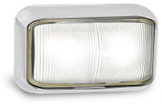 58CWM - Front End Outline Marker Chrome Base Clear Lens Multi-volt Low Profile Single Pack. AL. Ultimate LED.