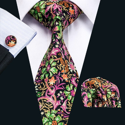Black with green, orange and pink floral pattern necktie set.