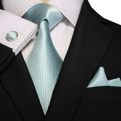 Turquoise blue solid patterned necktie set.