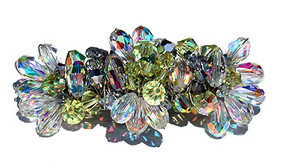 SWAROVSKI ELEMENTS woven on sterling silver to create a beautiful customized hair barrette.