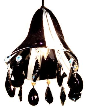 Hand blown glass pendant light with STRASS SWAROVSKI crystal