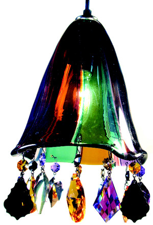 Hand blown glass pendant light accented with STRASS Swarovski crystal