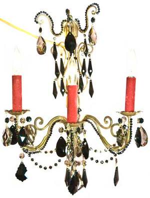 Antique brass and wood wall sconce accented with jet black and golden teak STRASS Swarovski crystal