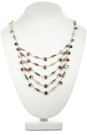 Mediterranee layer necklace made with rare and vintage Swarovski crystals on gold filled
