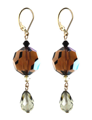 Swarovski Crystal Earrings on Gold Filled Metal.  Oversized Smokey topaz element and Black diamond drop.