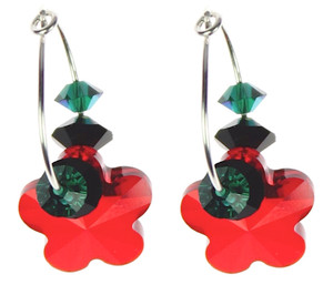 Holiday earrings on sterling silver with Swarovski crystal
