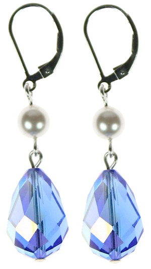 Large Hannakah drop earrings with Swarovski crystal and sterling silver
