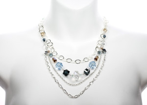 Karen Curtis Jewelry - Resort Collection - Swarovski Crystal and multiple strands of Sterling Silver create this beautiful necklace