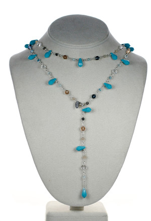 """Karen Curtis Jewelry - 38"""" turquoise crystal and sterling silver necklace"""