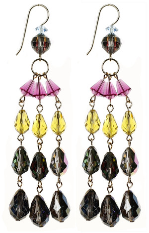 3 strand colorful crystal earrings by NYC jewelry designer Karen Curtis