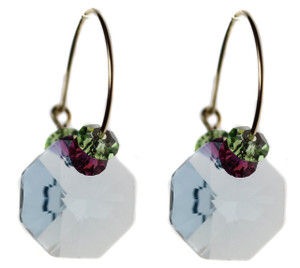 Aqua blue Swarovski crystal earrings by Karen Curtis NYC