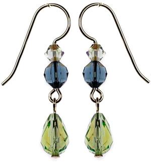 Swarovski crystal peridot drop earrings by Karen Curtis NYC