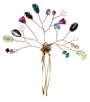 Colorful Swarovski crystal hair piece by Karen Curtis NYC