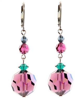 Purple crystal earrings made by Karen Curtis NYC. Every design on www.karencurtis.com incorporates rare Swarovski crystal.