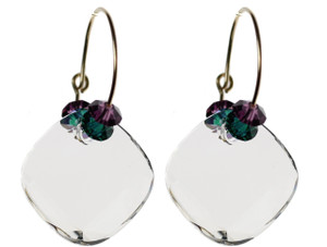 Clear crystal earrings made with Swarovski crystal by the Karen Curtis Company NYC