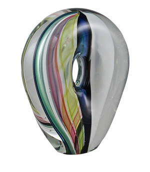 Colorful glass sculpture made with individual strips of colored cane glass.