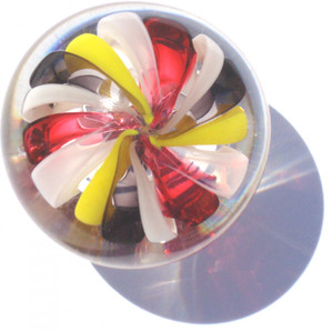 Hand Blown Glass Drawer Pull. Each one is made individually using color rods called cane.  This Knob is clear glass, white, grey, yellow and salmon glass.