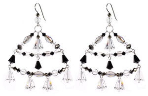 Large swarovski crystal chandelier earrings from deco jewelry collection by Karen Curtis NYC