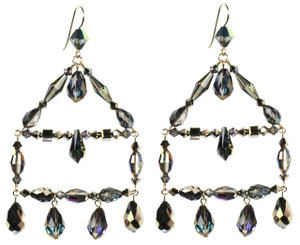 Swarovski crystal chandelier earrings from The Grand Central Holiday Fair 2014 in NYC. Karen Curtis' Metallica Jewelry Collection