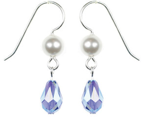 Hannukah Earrings with Saphire Blue Crystal and pearls by Karen Curtis NYC