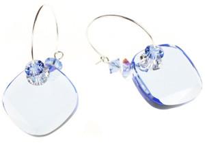 Beautiful Swarovski crystal earrings by The Karen Curtis Jewelry Company Sapphire Blue Hoop Earrings by Karen Curtis in NYC