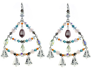 Colorful chandelier earrings with Crystals from Swarovski.