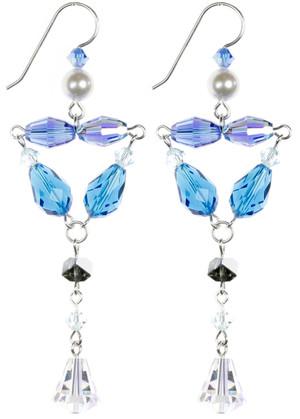 Elegant Blue Crystal Earrings. Karen Curtis Jewelry NYC