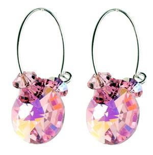 Pink Crystal Hoop Earrings by Karen Curtis NYC
