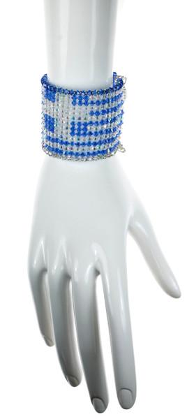 Greek flag jewelry made entirely of crystals by Swarovski. Limited edition cuff bracelet