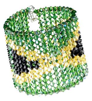Swarovski Crystal Bracelet with Jamaican Flag Pattern