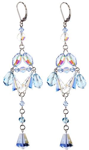 Sky Blue Crystal Divine Shoulder Duster Earrings