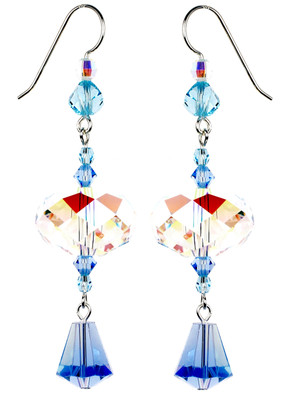 Blue and Crystal AB Statement Earrings