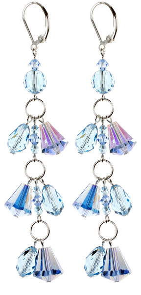 Sky Blue and Aqua Fringe Shoulder Duster Earrings