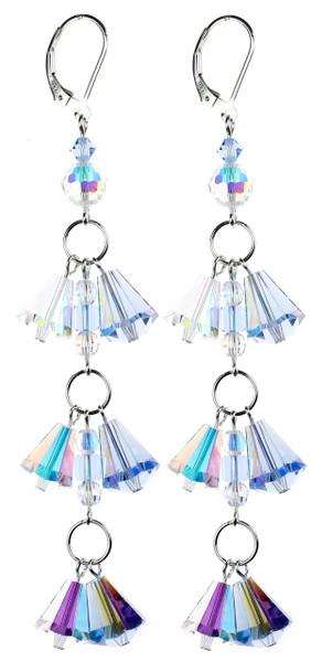 Sky Blue and Crystal AB Fringe Shoulder Duster Earrings