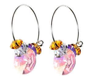 Vintage Pink Crystal Hoop Earrings