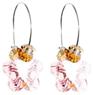Pink Crystal Flower Hoop Earrings