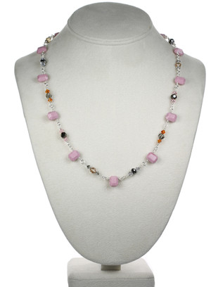 Opaque Pink Single Strand Necklace
