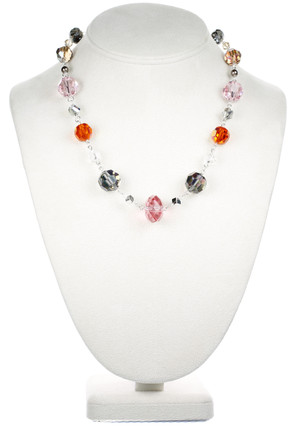 Designer hand made Necklace with Silver and Rare Crystals from Swarovski