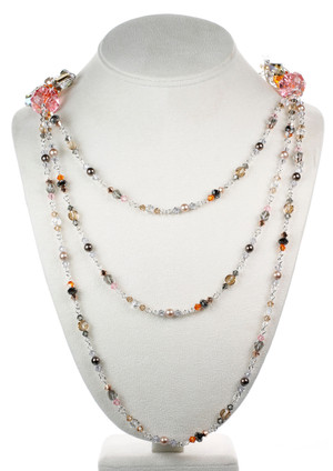 Layered Crystal and Silver Necklace for a one of a kind look