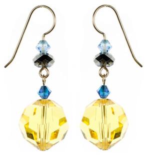 Large Yellow Crystal Earrings - Tiffany
