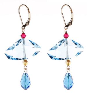 Abstract Blue Crystal Earrings - Tiffany