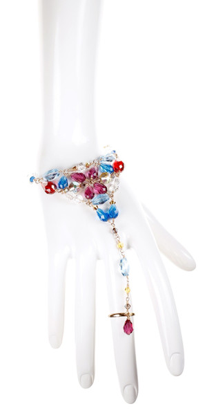Chunky Crystal Hand Chain - Tiffany